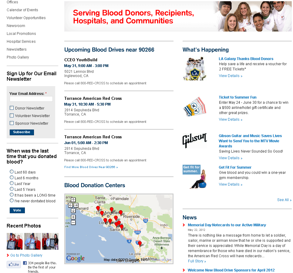 Red Cross Webpage Screenshot in Search by Zip Code