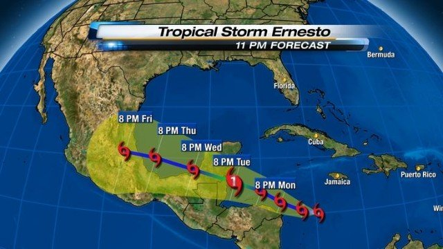 &quot;Tropical Storm Ernesto in Central America (photo from http://www.local10.com)&quot;
