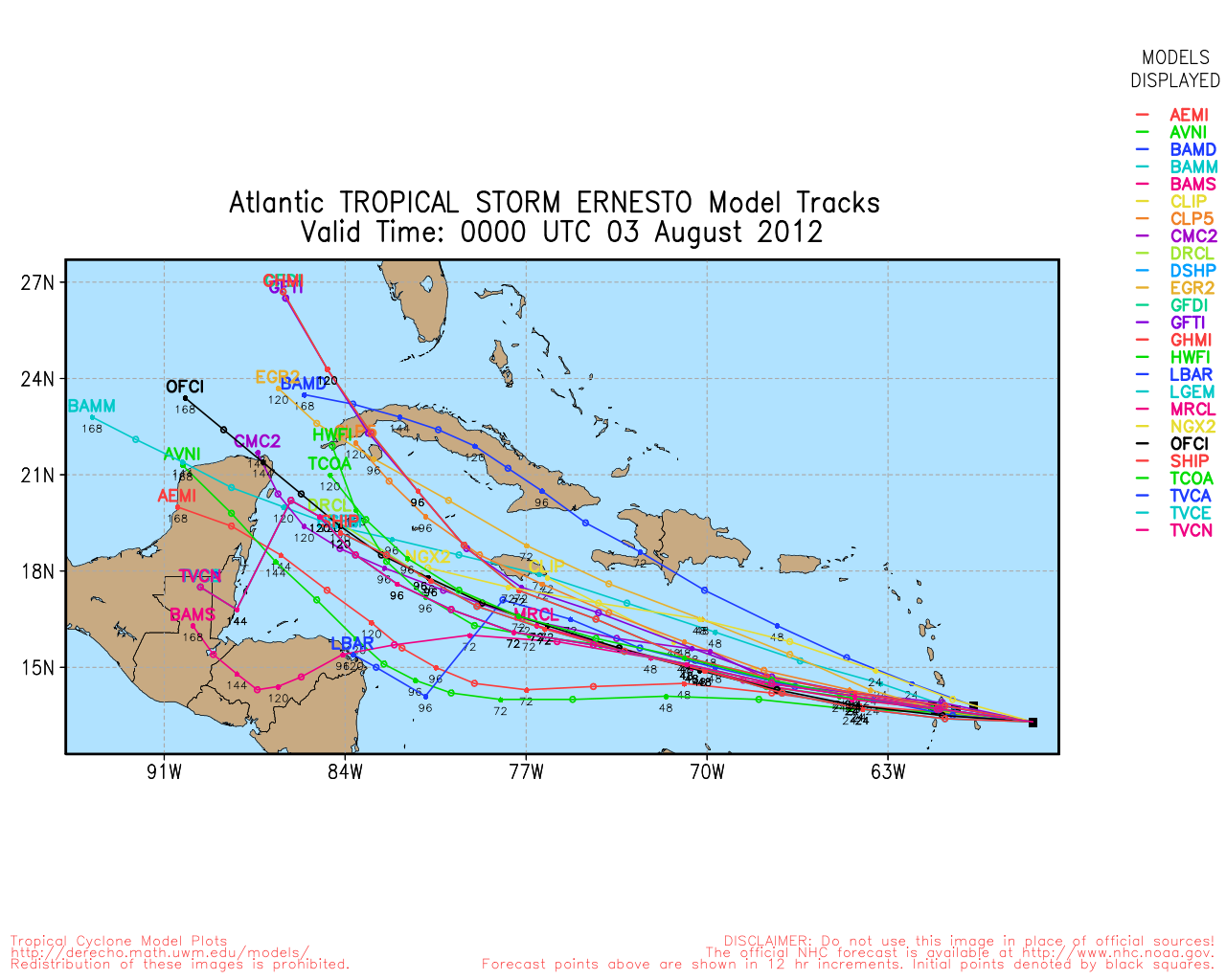"""Tropical Storm Ernesto in Caribbean Sea"""