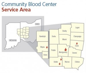 Map for Community Blood Centers in Ohio and Indiana
