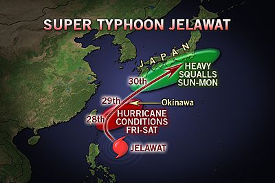 """Tropical Storm Jelawat in Japan (photo credits: accuweather.com)"""