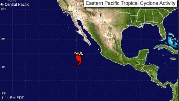 Hurricane Paul in Mexico and Baja California (Photo credit: http://www.cbsatlanta.com)