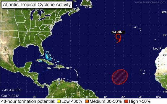 """Tropical Storm Nadine in Azores (Photo credits: http://www.upi.com)"""