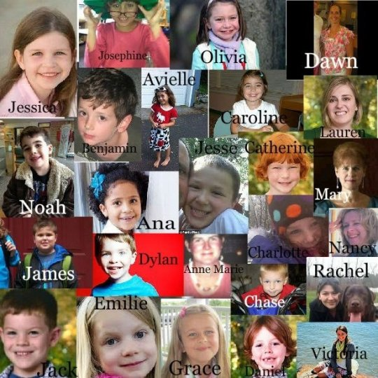 """Faces with names of the Sandy Hook Elementary School massacre victims (Photo Credit: http://globalgrind.com)"""