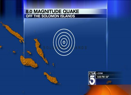 An 8.0 magnitude earthquake hit Solomon Islands (Photo credit: http://www.pjstar.com/)