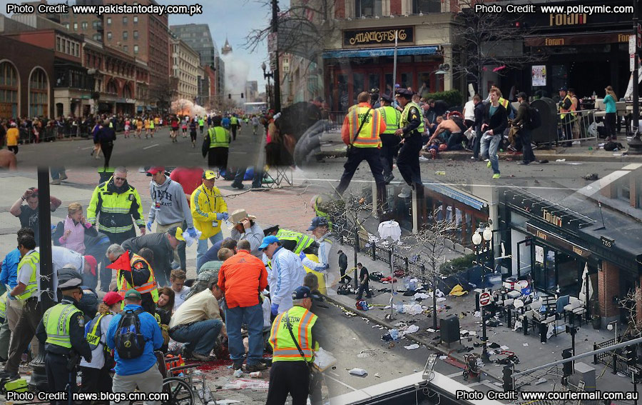 """The aftermath of the horrible Boston bombing"""