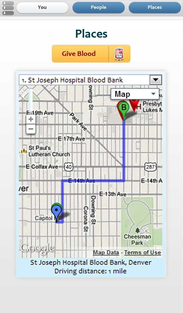 Map section of bloodbanker app